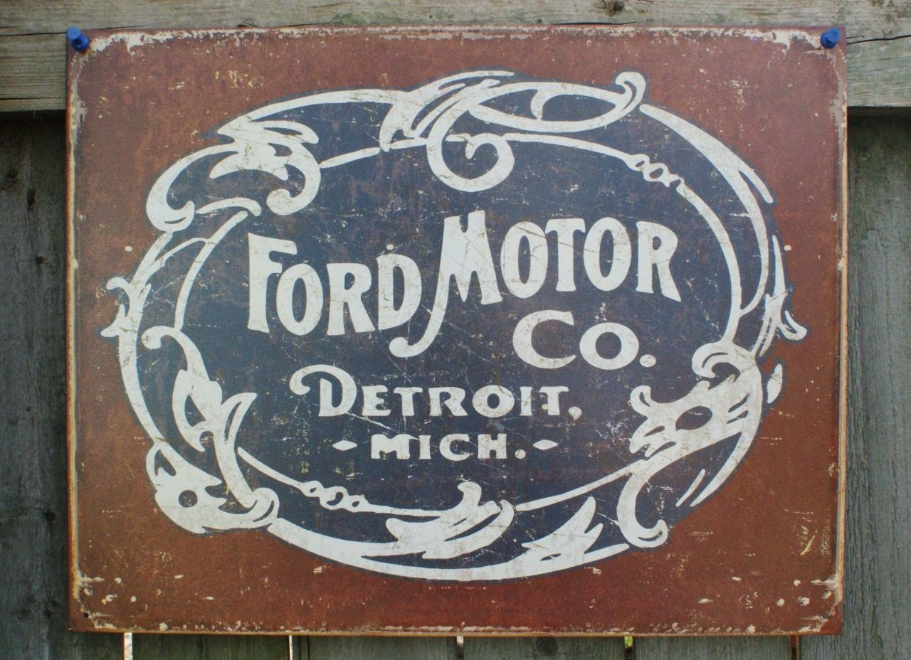 Ford Motor Co Detroit Michigan Tin Sign F Series Mustang