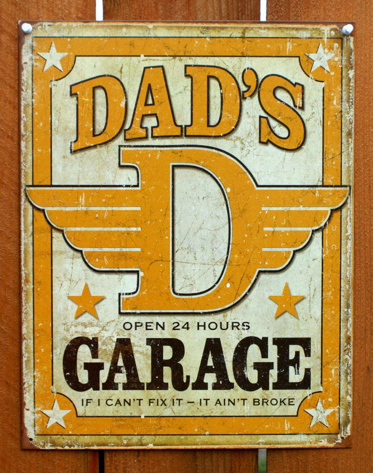 Auto Garage Signs : Dads garage open hrs tin sign hot rod fathers day auto