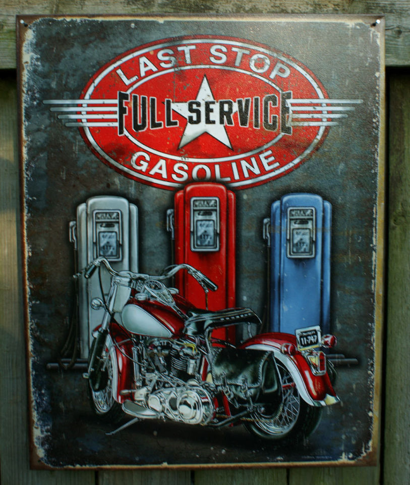 Motorcycle Man Cave Signs : Last stop gasoline tin sign motorcycle bikers gas station
