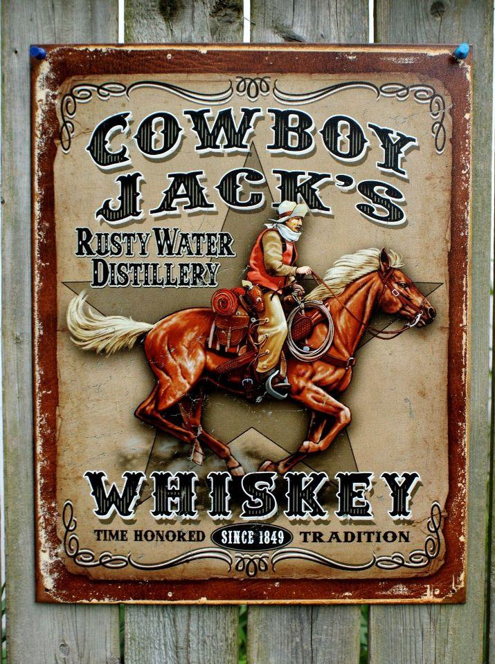 Cowboy Jacks Whiskey Tin Sign Garage Man Cave American