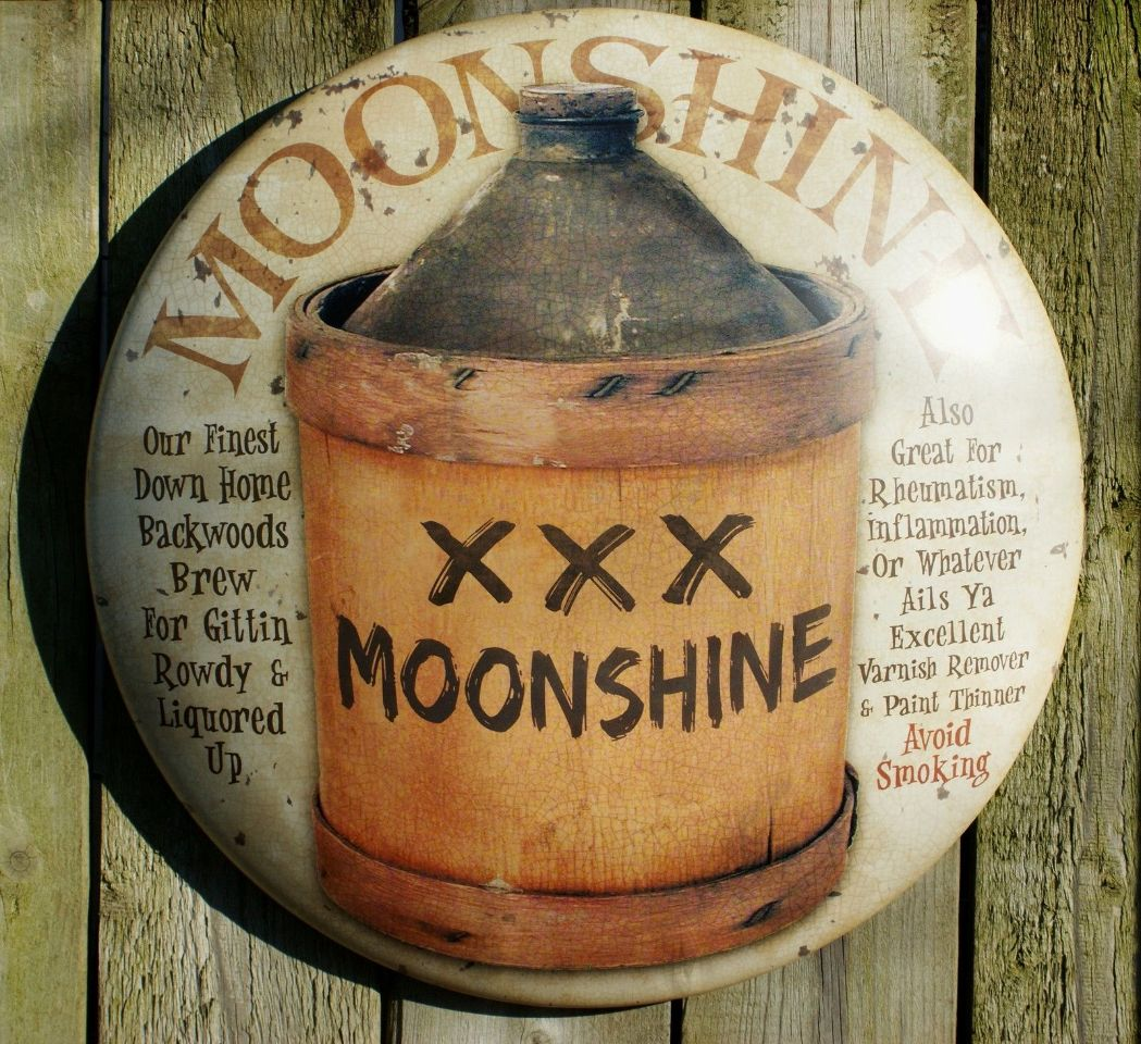Moonshine Round Tin Metal Sign Americana Vintage Look