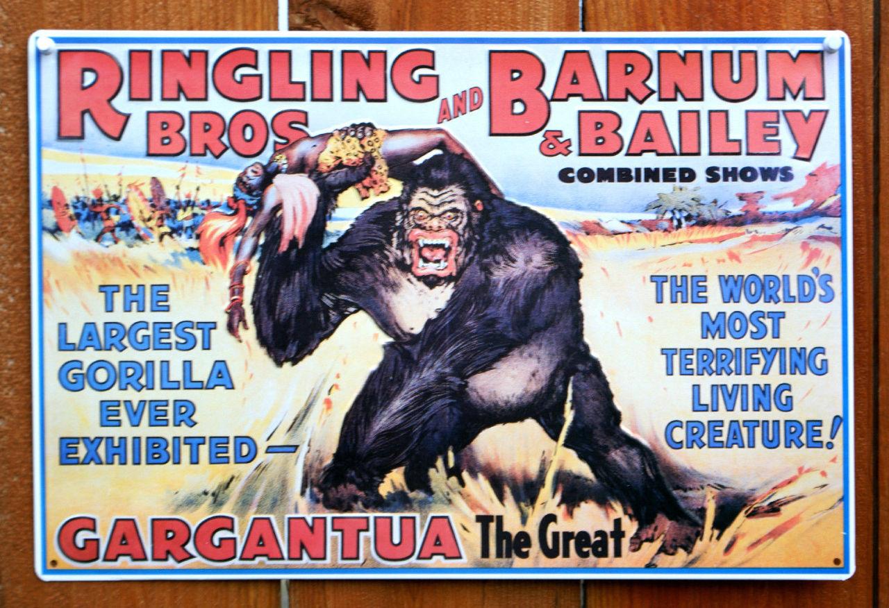 Ringling Bros And Barnum Amp Bailey Circus Tin Sign Gorilla