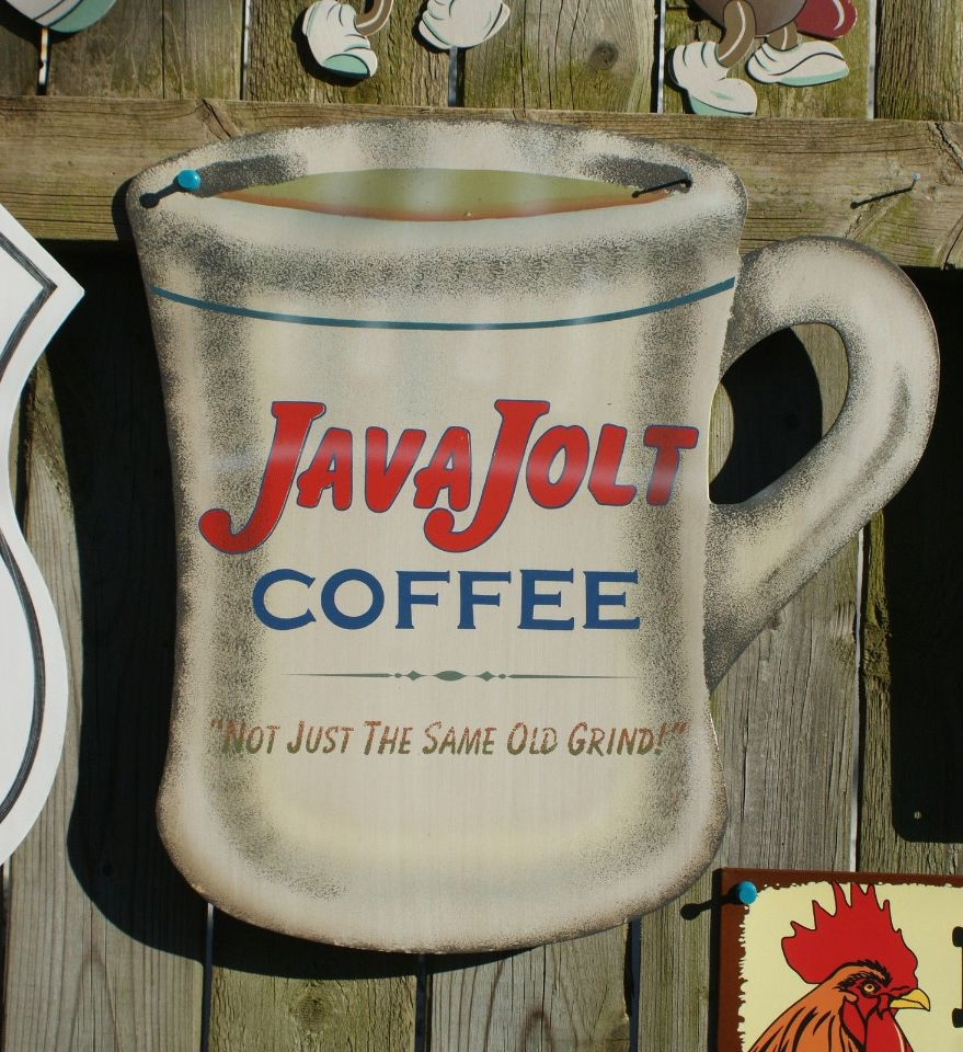 Java Jolt Coffee shop cup Tin Metal Sign Vintage Kitchen