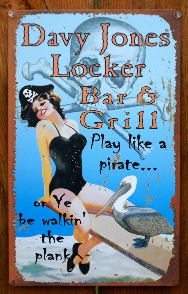 Davy jones locker bar grill tin metal sign pin up girl for Davy jones locker fishing