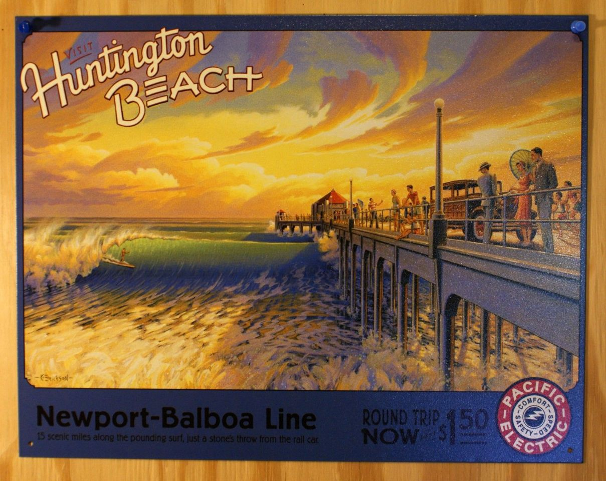 Visit Huntington Beach Pacific Electric Tin Sign Beach Surfing Newport B12 The Wild Robot