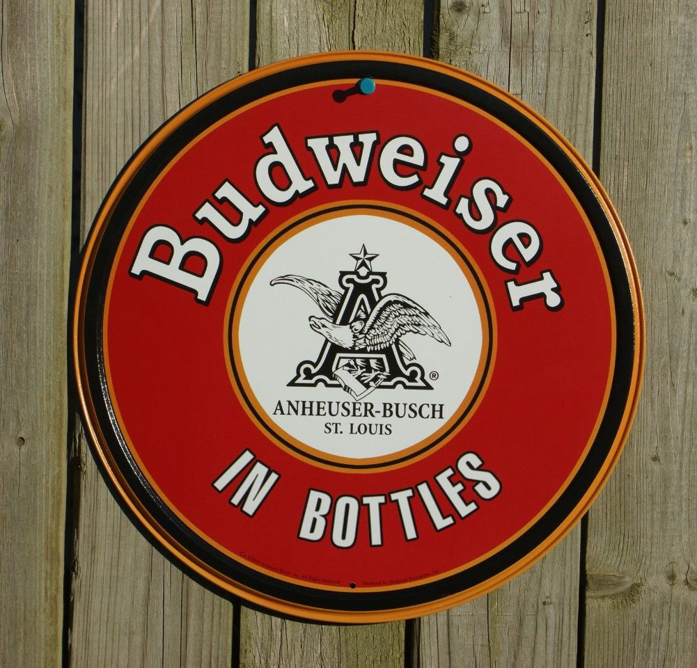 Anheuser Budweiser Beer Round Tin Sign Garage Man Cave Bar Bottles Eagle S2