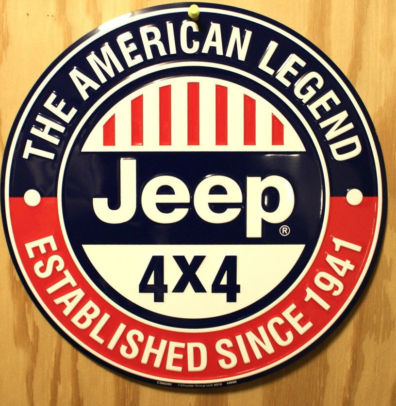 Jeep American Legend Round Tin Metal Sign Willy Military
