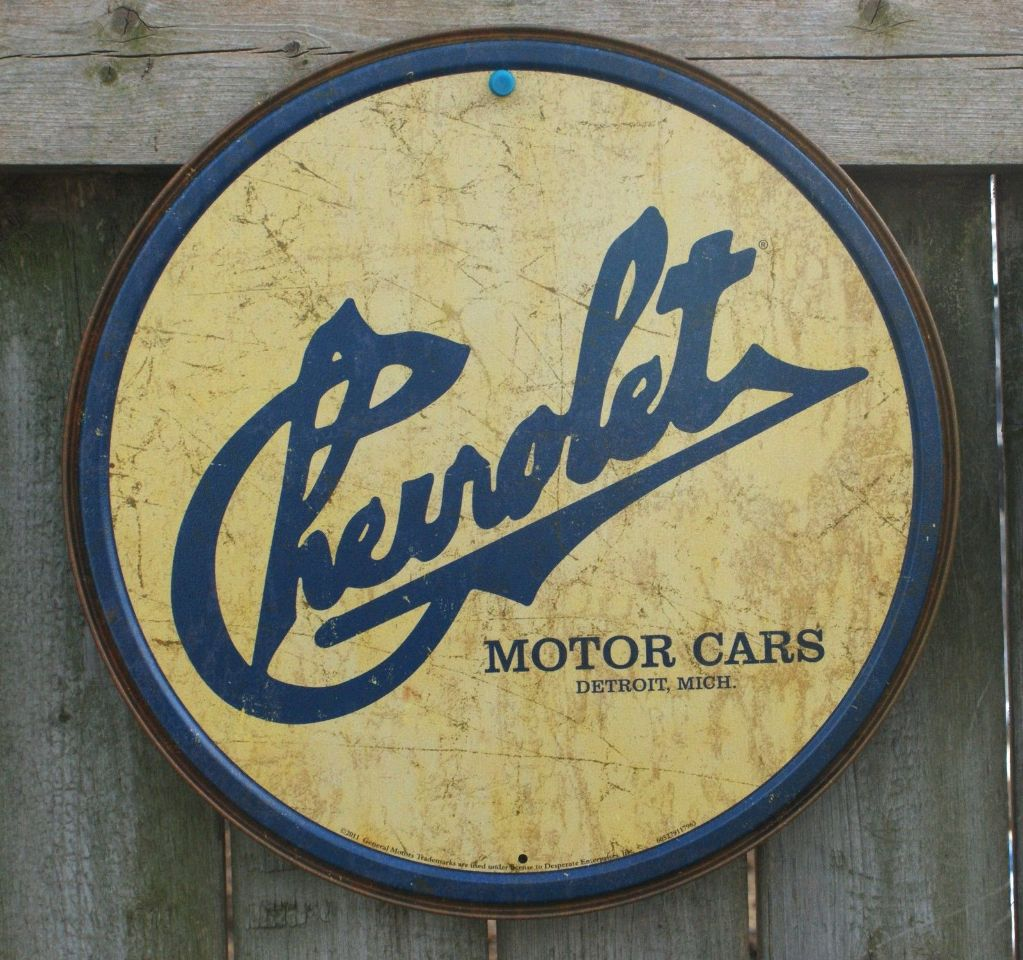 Man Cave Signs Metal : Chevrolet tin round sign man cave garage chevy corvette