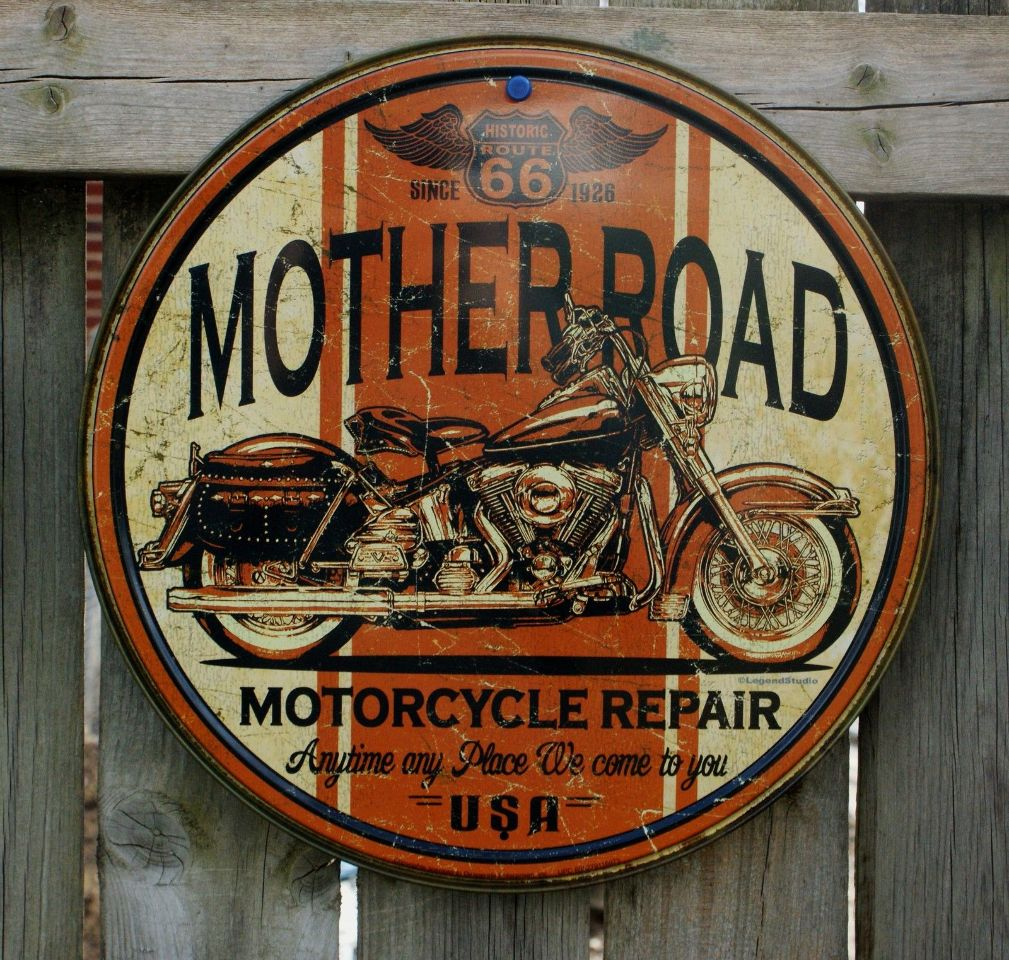 Man Cave Road Signs : Mother road repair tin round sign man cave garage triumph