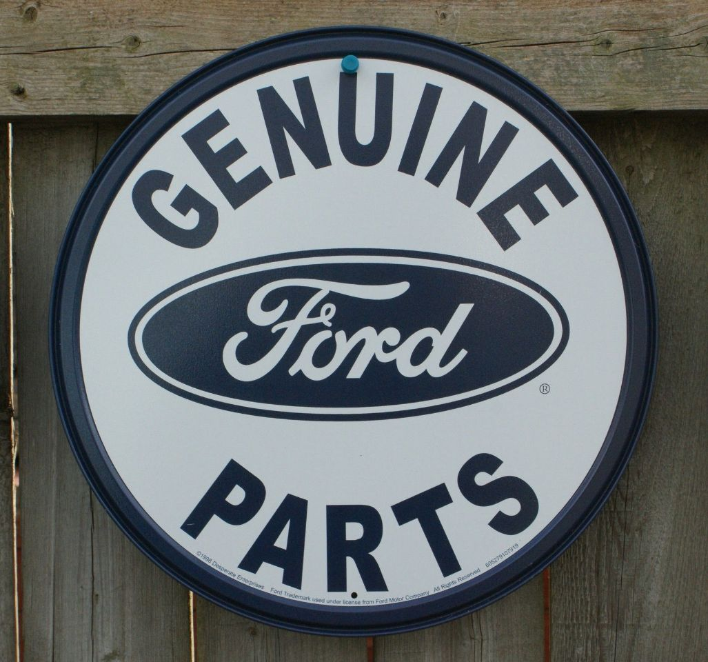 Ford Garage Signs : Ford genuine parts tin round sign man cave garage truck f