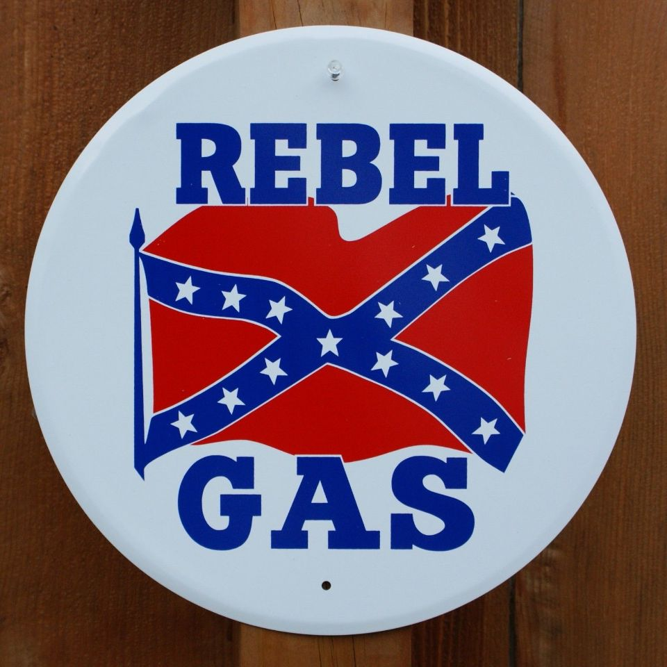 Rebel Gas Tin Metal Sign Gasoline Gas Amp Oil Petro Service Station Dixie C6 The Wild