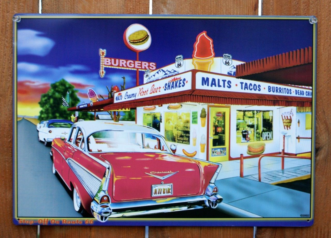 Route 66 Drive In Tin Metal Sign Coca Cola Hamburger 1957