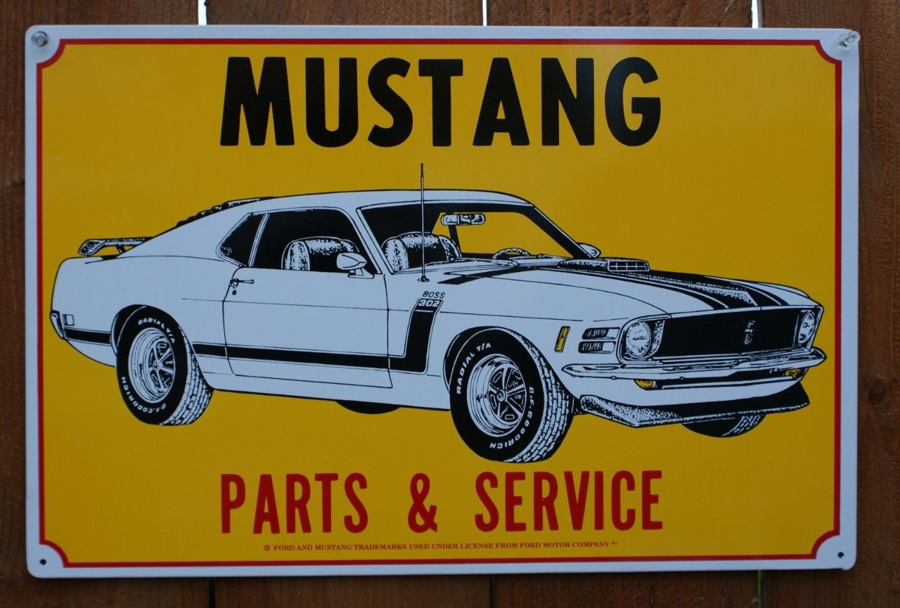 Ford Mustang Parts & Service Tin Sign Boss 302 V8 Cobra GT Pony ...