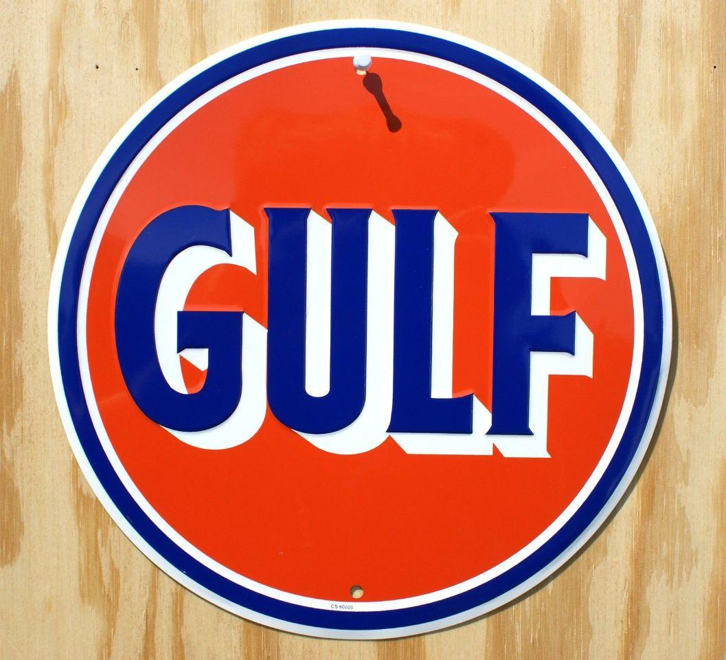 Gulf Oil Round Tin Metal Sign Garage Gasoline Standard Gas Station Man Cave 26