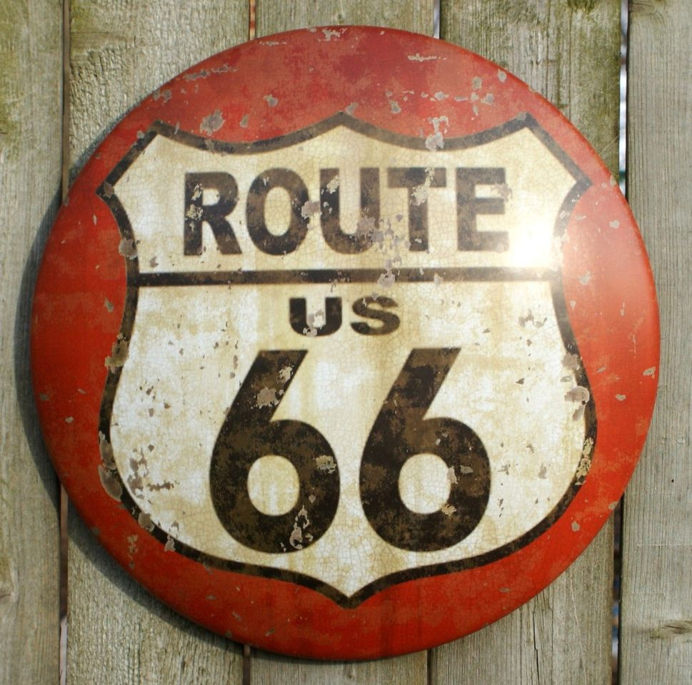 Vibrant Business Card: Route 66 Tin Metal Round Sign RT Country Vintage Style