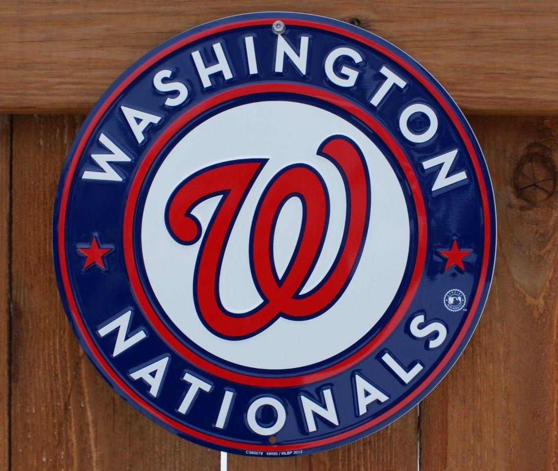 Washington Nationals Metal Round Sign Mlb Baseball Sports