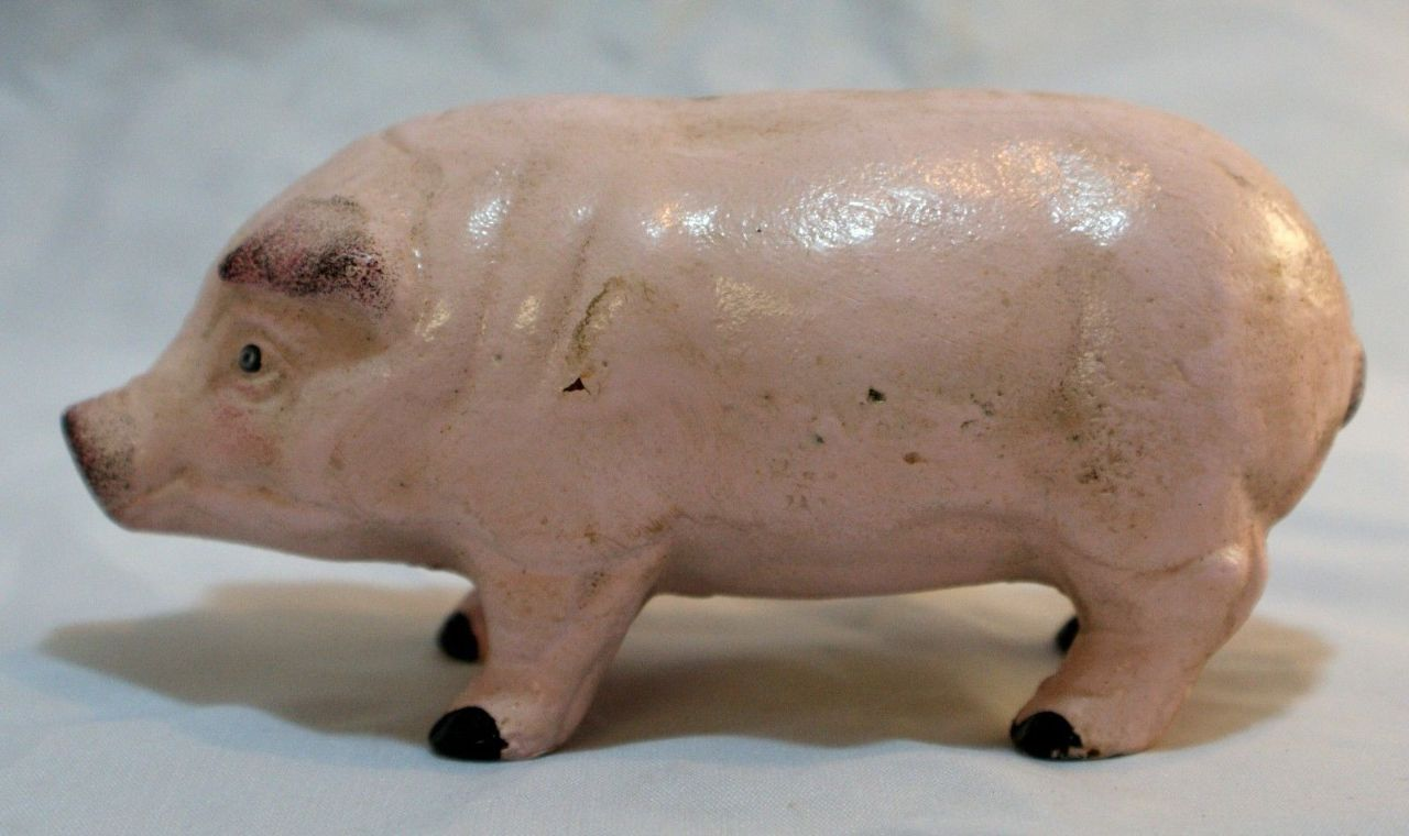 Cast Iron Pig Piggy Bank Hog Farm Animals Country Kitchen Childs Decor Outdoor