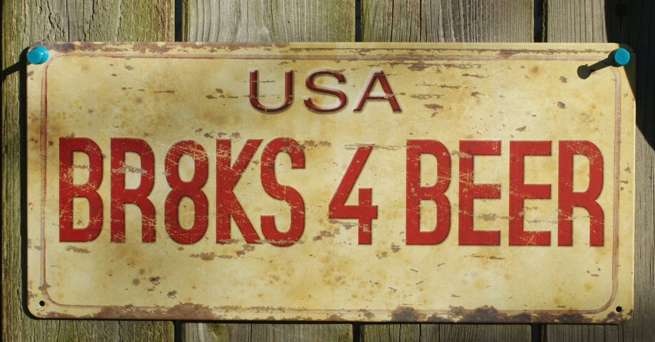 Man Cave Beer Signs : Brakes beer license plate tin metal sign man cave bar