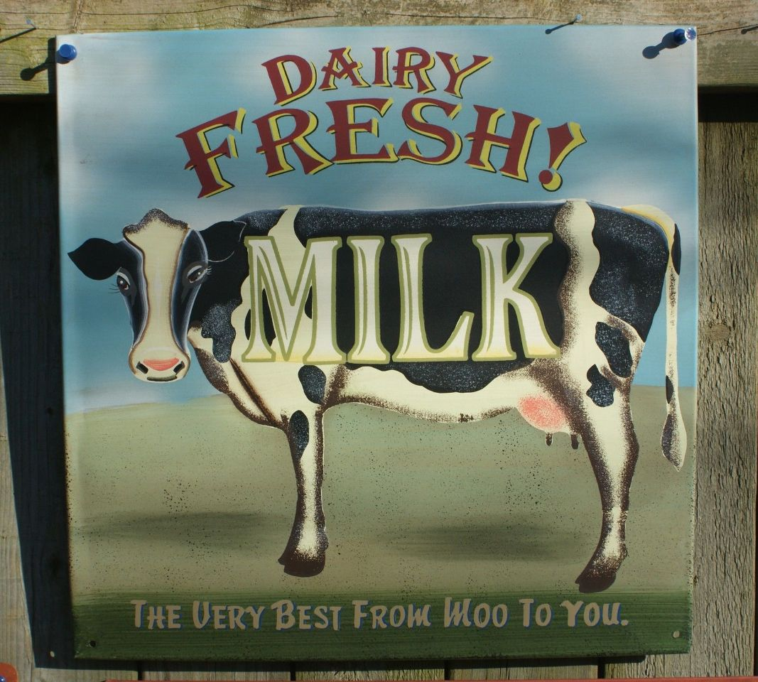 Dairy Fresh Milk Tin Metal Sign Country Kitchen Farm Decor Cow Americana  Moo D67