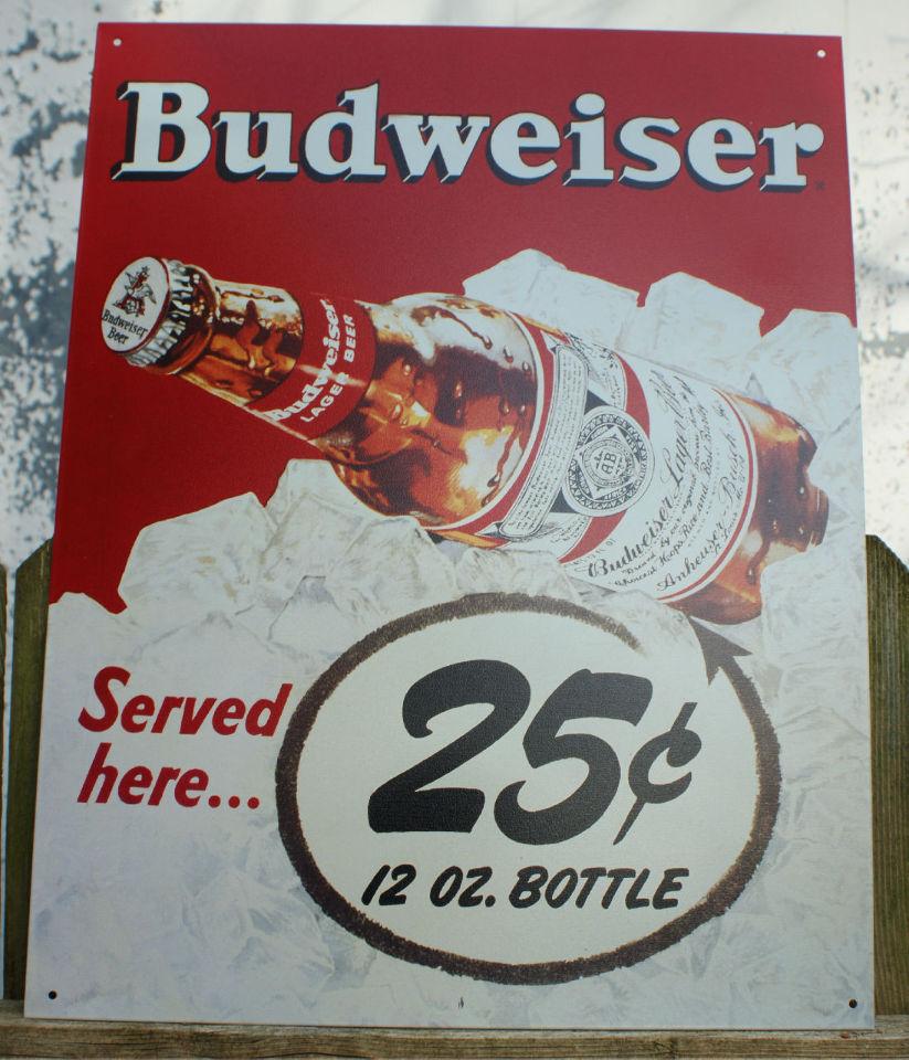 Budweiser Served Here Tin Sign Comedy Beer Bar Garage
