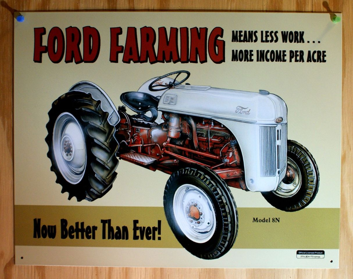 Ford Farming 50s Tractor New Tin Metal Sign Red Amp White