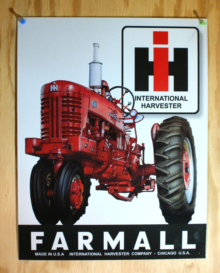Mccormick farmall tin sign chicago usa tractor for International harvester room decor