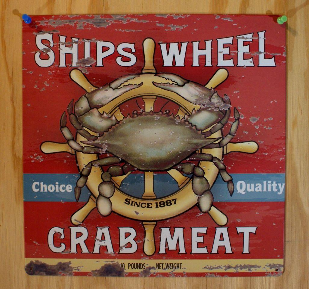 Ships Wheel Crab Meat Tin Sign Kitchen Decor Sea Food Adver Ad B26