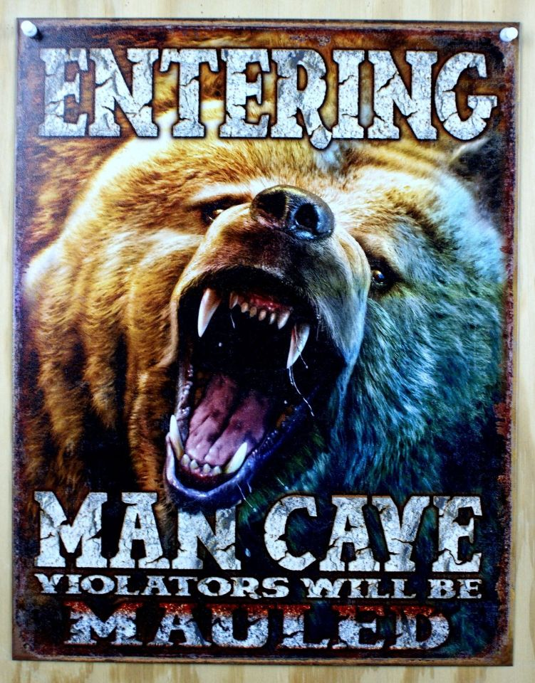 Entering Man Cave Tin Metal Sign Garage Game Room Fathers