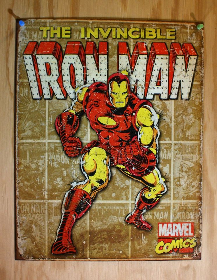 The Invincible Iron Man Tin Metal Sign Marvel Comics