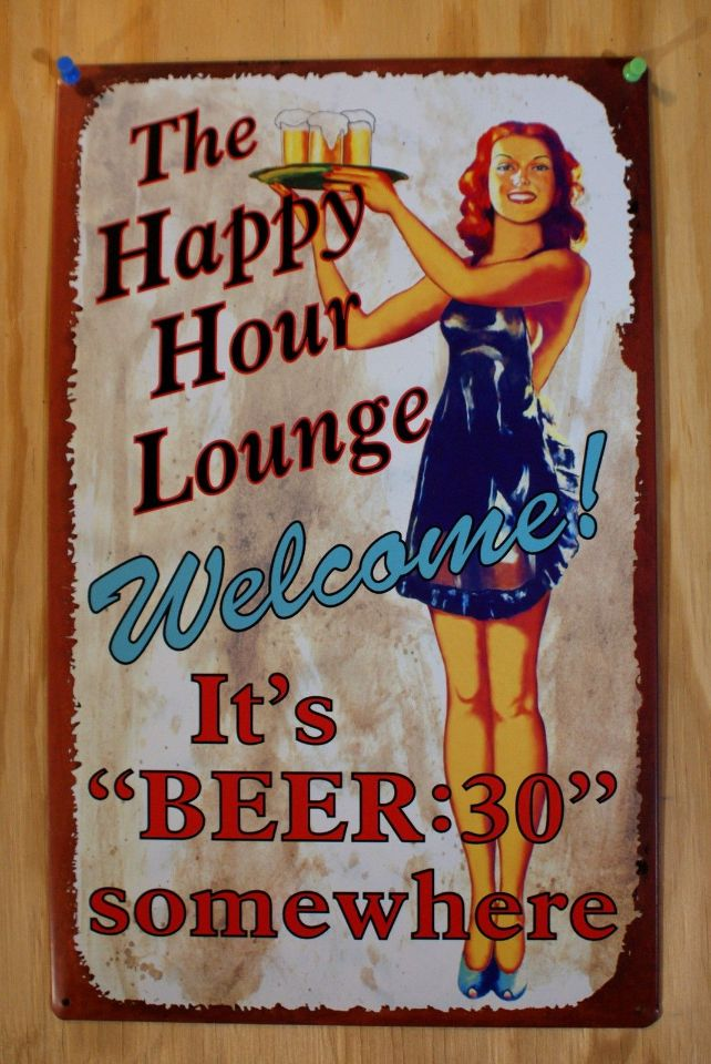 The Happy Hour Lounge Beer Thirty Tin Sign Pin Up Bar Maid