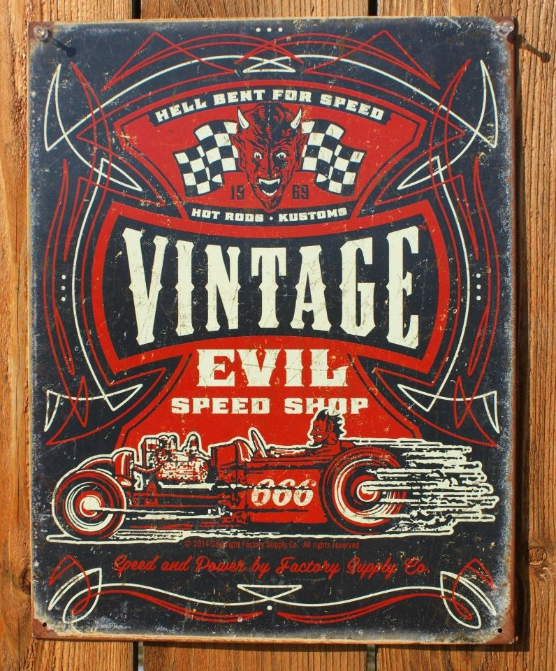 Vintage Evil Speed Shop Tin Sign Hot Rod Race Car Garage Devil Pin ...