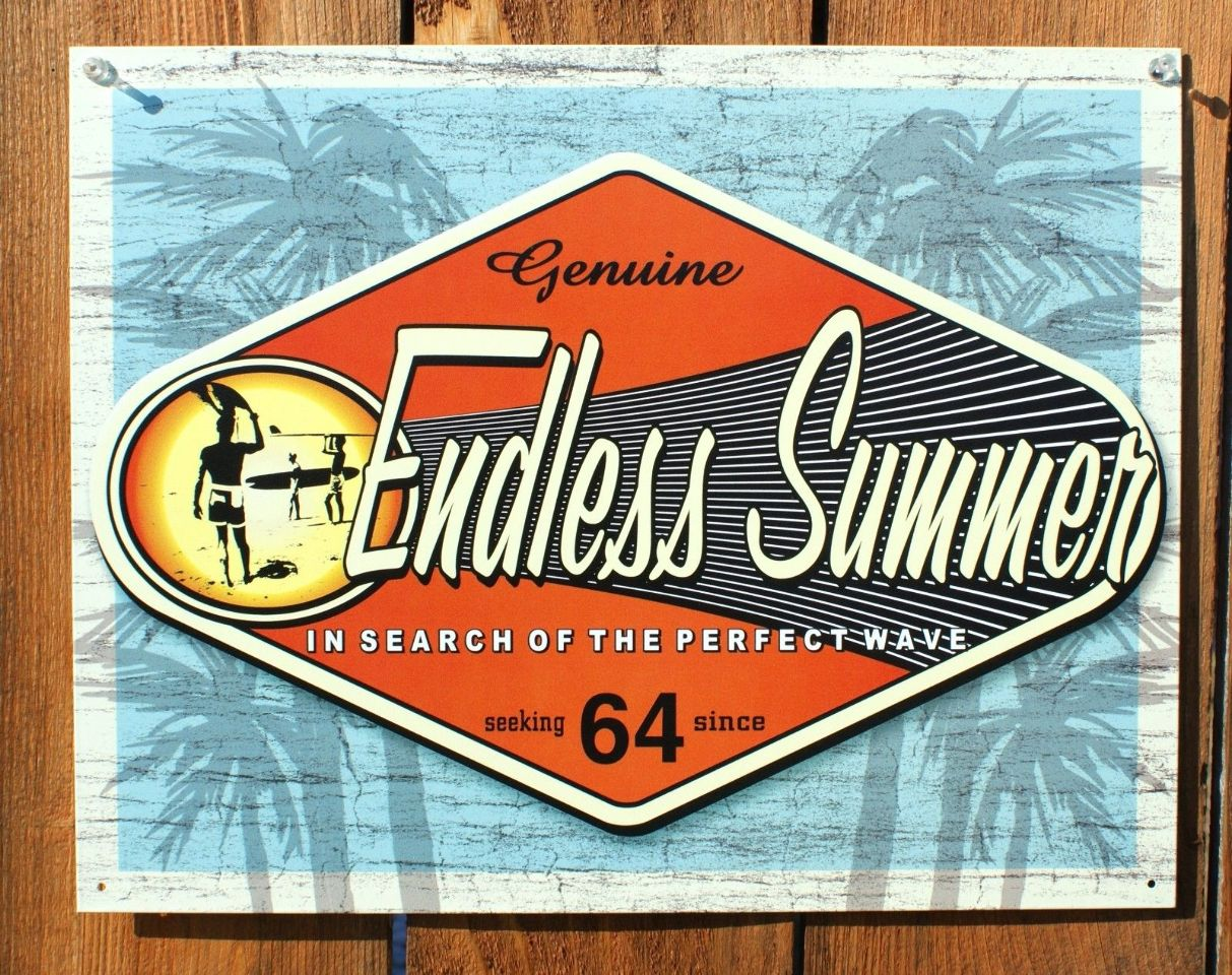 Endless Summer Tin Sign Classic Movie Surfing Surf Board