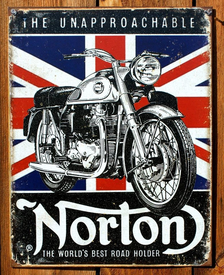 Norton Motorcycle Tin Sign Cafe Racer Sportster Manx 500
