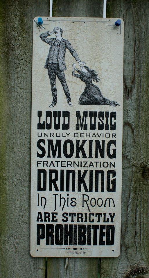 Man Cave Signs For Garage : Loud music smoking drinking prohibited tin sign bar garage