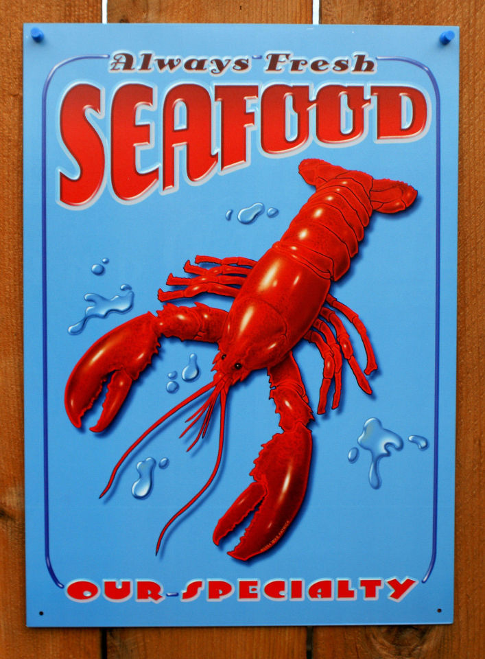 Always Fresh Seafood Tin Sign Red Lobster Kitchen Cooking Decor Fish Crab  E78
