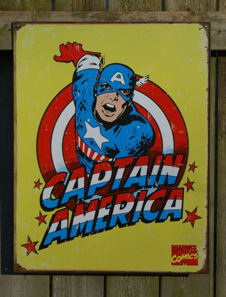 Captain America Marvel Comics Tin Metal Sign Comic Book