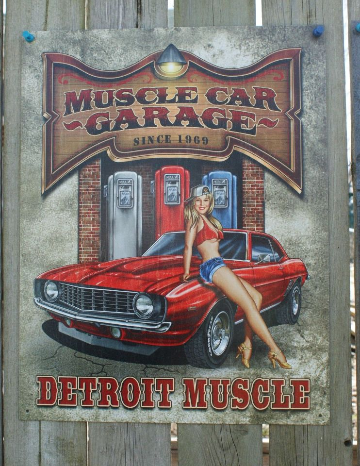 Muscle Car Garage Tin Sign Man Cave Garage Camaro Gas Pump
