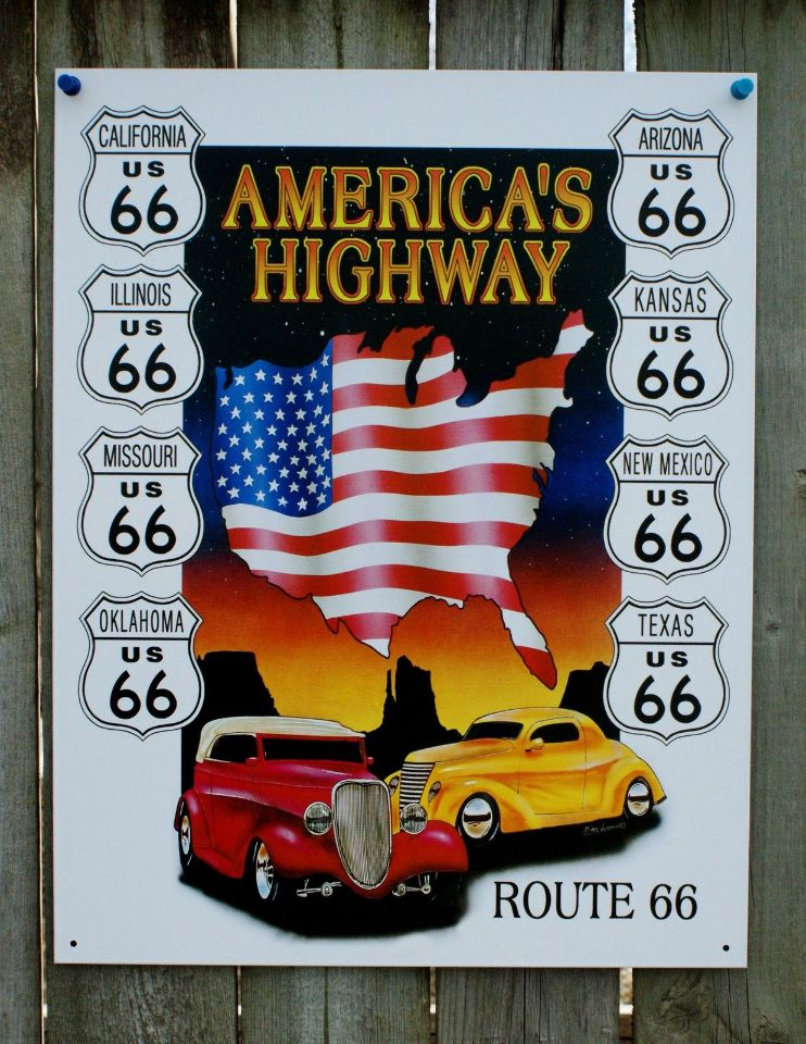 Route 66 america 39 s highway tin sign hot rod mancave garage for Garage route 66 metz