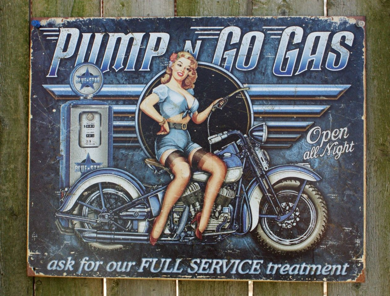 Pump n Go Motorcycle Tin Sign Man Cave Garage Pin Up Girl Oil Gas Gasoline 20A