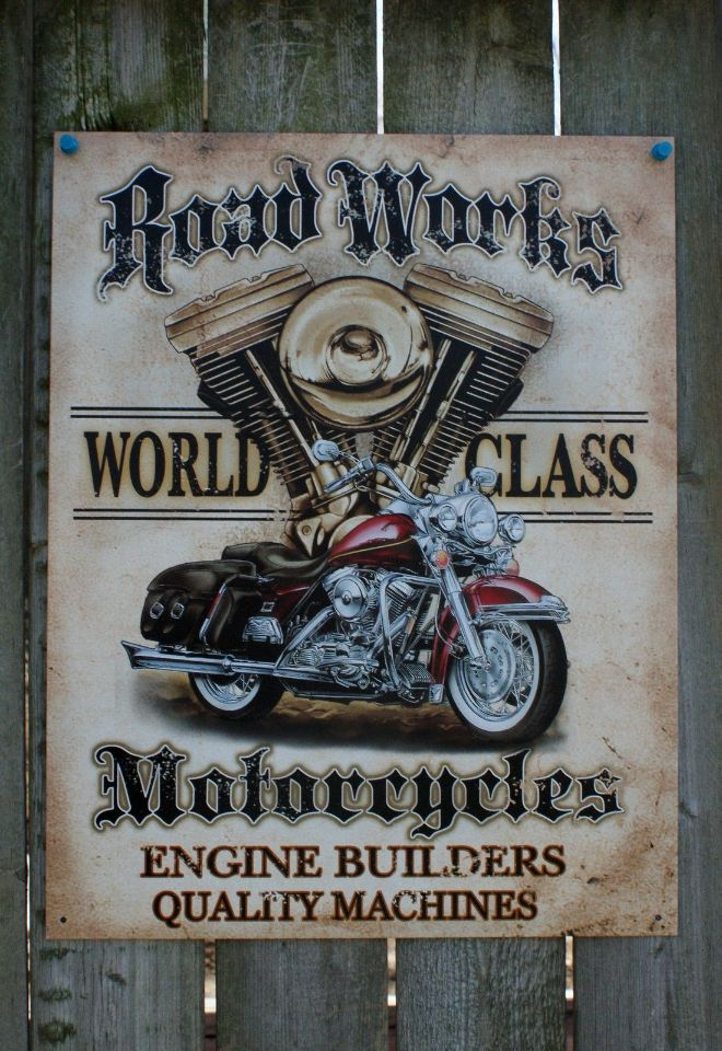 Road Works World Class Motorcycle Engine Builders Tin Sign