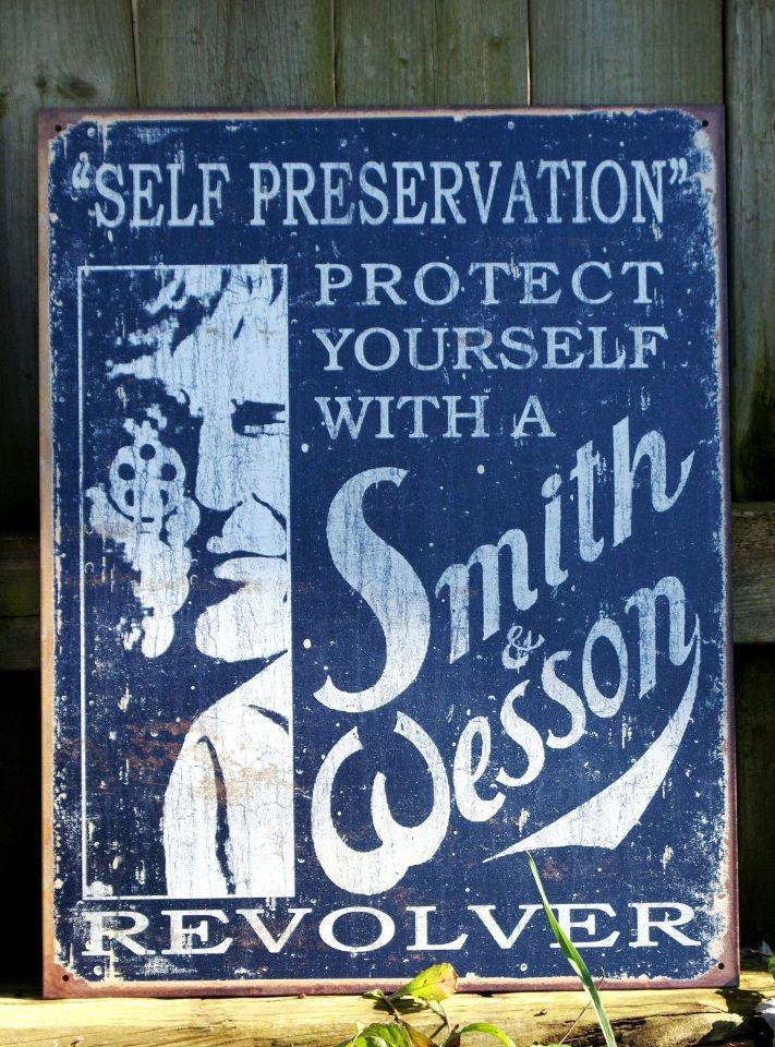 Smith Amp Wesson Tin Metal Sign Man Cave Gun Revolver Pistol