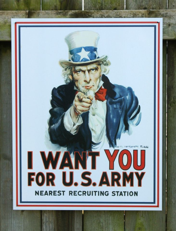 Military Man Cave Signs : Us army recruit tin sign man cave garage i want you uncle
