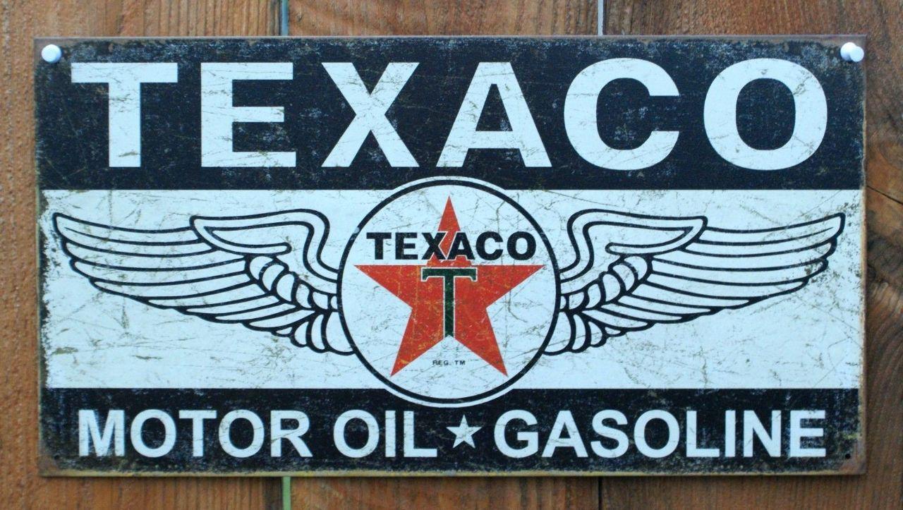 Shell Gasoline Logo Texaco Motor Oil Gasoline Tin
