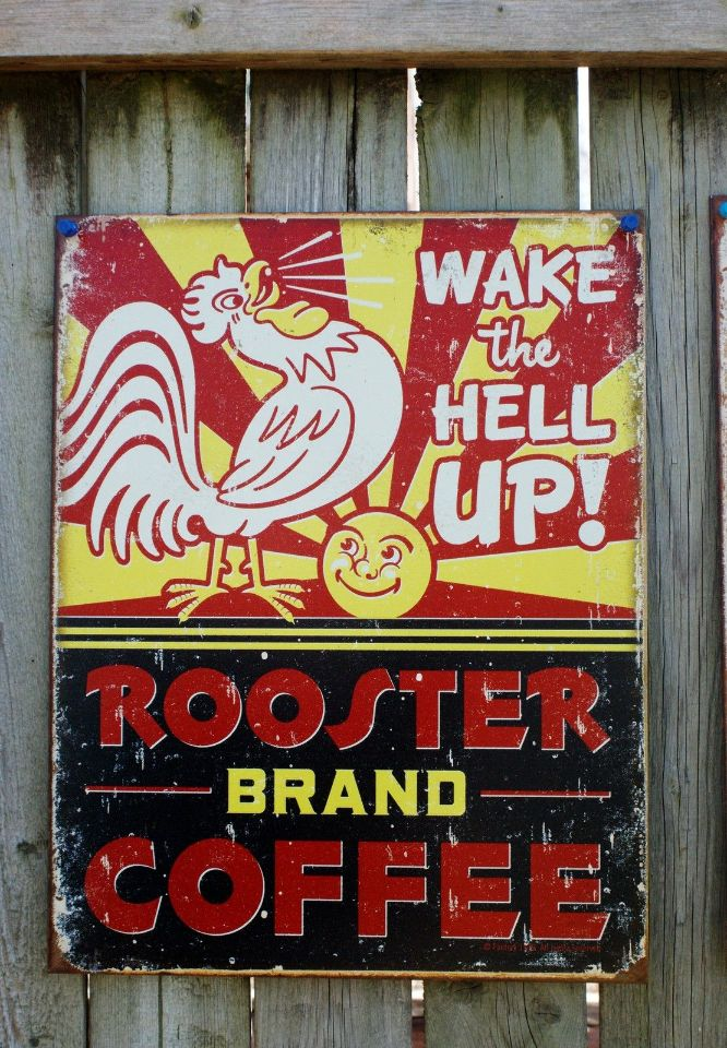 Rooster brand coffee tin sign garage country kitchen home for Home decor brands