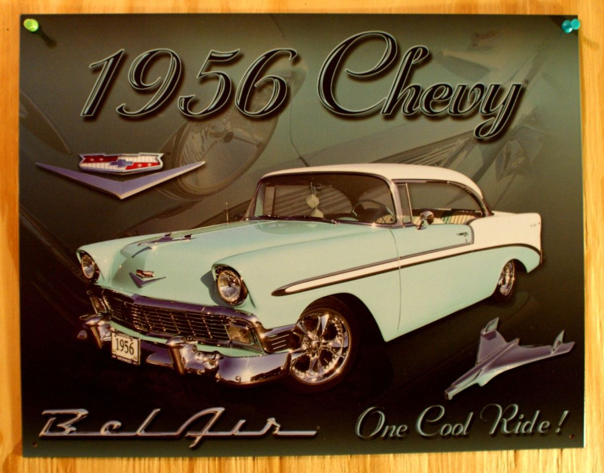 Classic 1956 Chevy Bel Air Tin Metal Sign Advertising Sign Car NEW