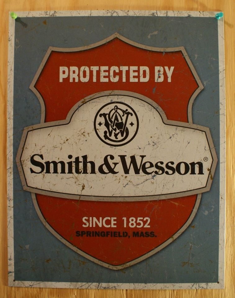 Protected By Smith Amp Wesson Tin Sign Ammo Gun Home