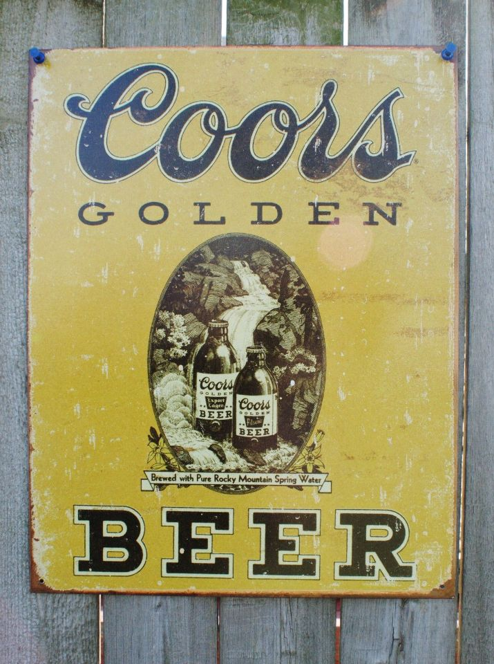 Man Cave Beer Signs : Coors golden beer tin sign man cave bar garage lager