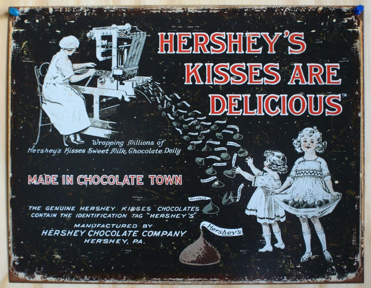Hershey Kisses Tin Sign Chocolate Valentines Easter Home Candy  Advertisement 12a | The Wild Robot!
