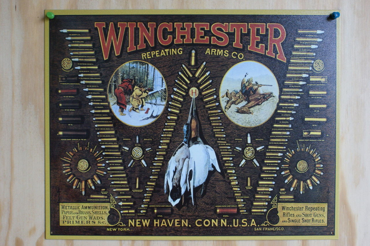 Winchester Ammo Tin Sign Duck Bird Trap Shoot Ammo Shells