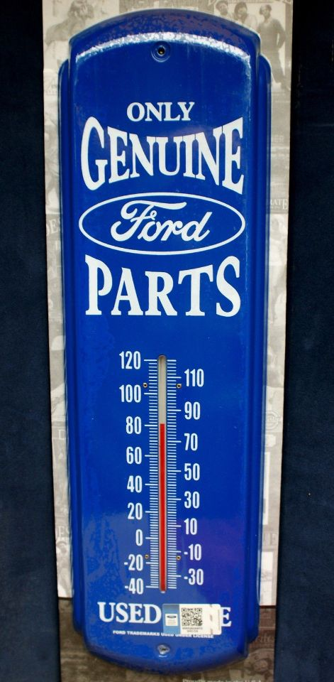 Genuine Ford Parts Large Metal Thermometer Mustang Garage